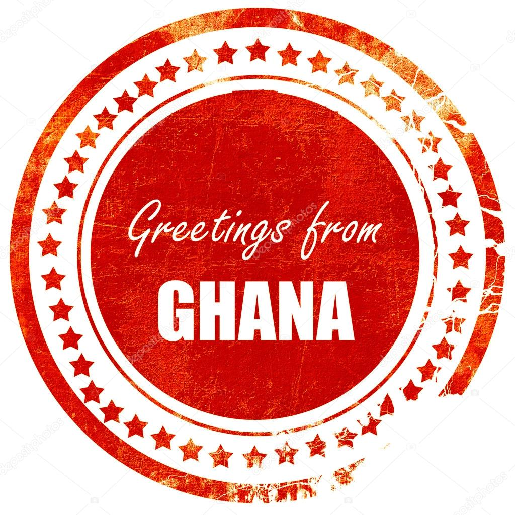 Greetings From Ghana Grunge Red Rubber Stamp On A Solid White B
