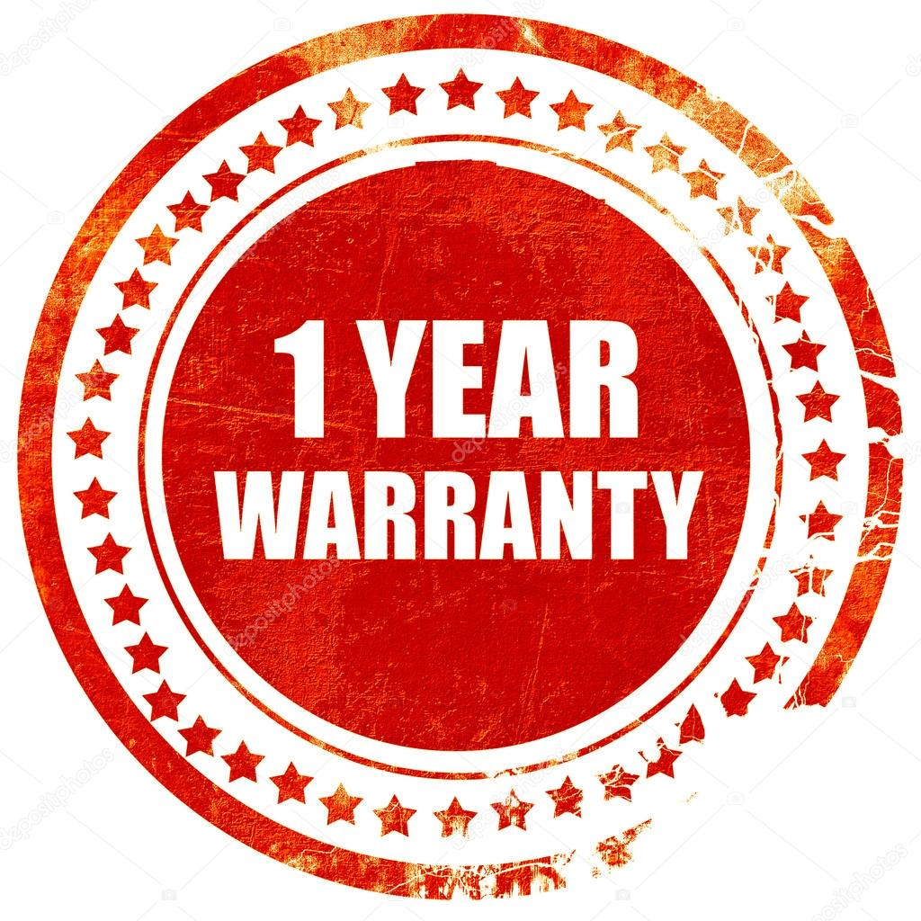 1 year warranty grunge red rubber stamp on a solid white backgr