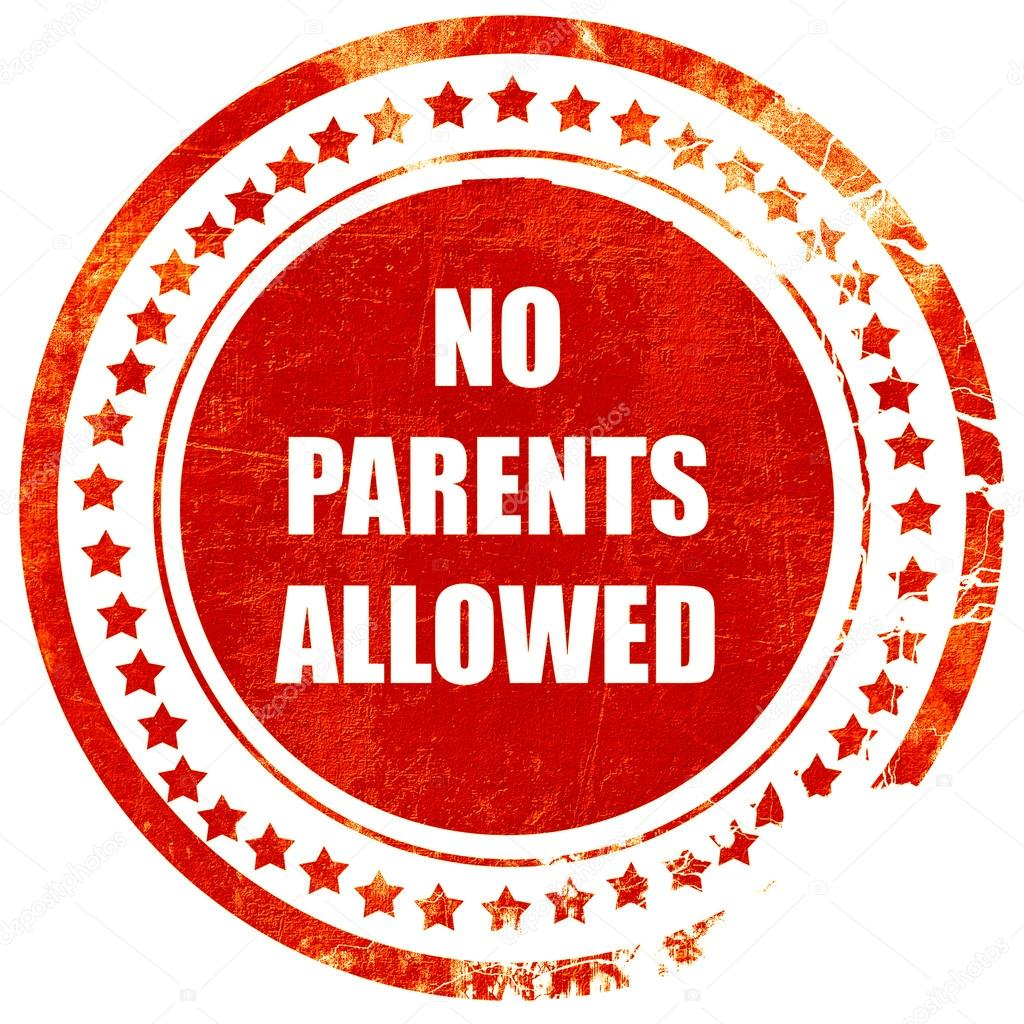 No Parents Allowed Sign Grunge Red Rubber Stamp On A Solid Whit Stockfoto