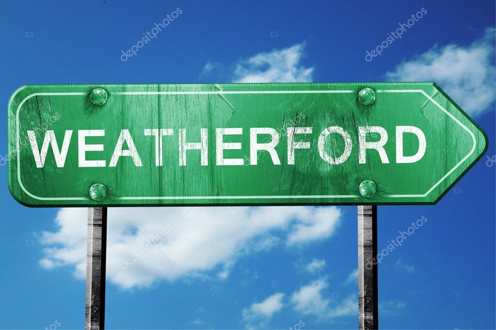 weatherford road sign , worn and damaged look — Stock Photo