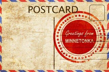 minnetonka stamp on a vintage, old postcard