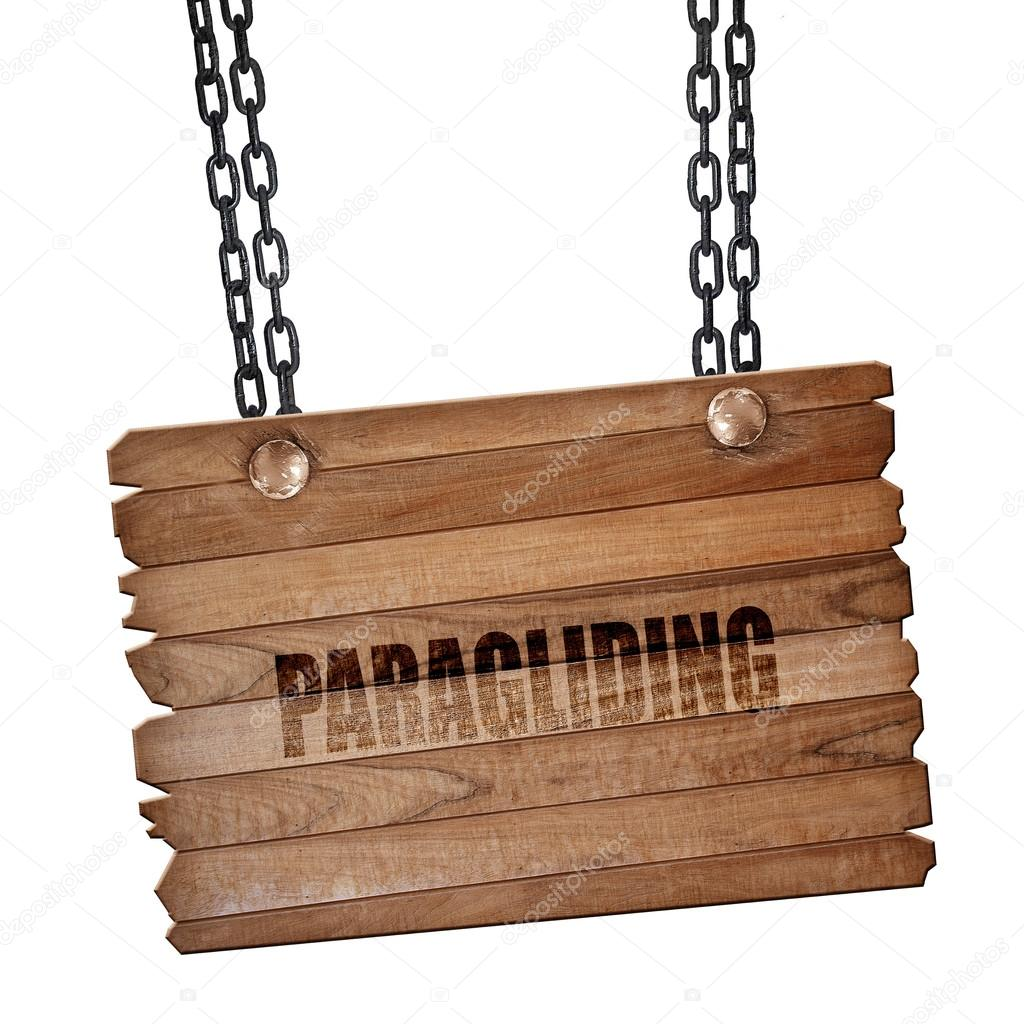 Paragliding sign background, 3D rendering, wooden board on a