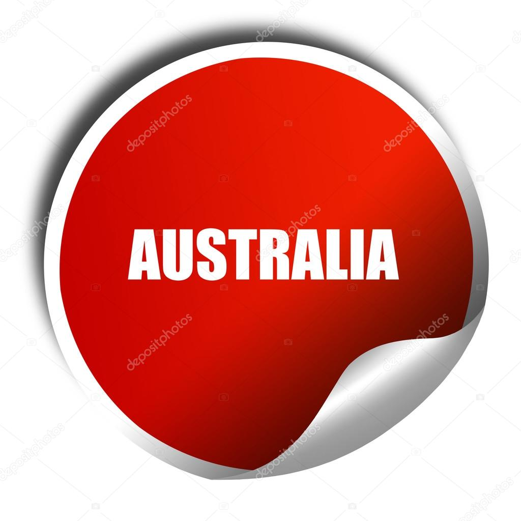 Greetings From Australia 3d Rendering Red Sticker With White T