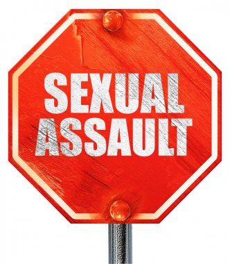 sexual assault, 3D rendering, a red stop sign