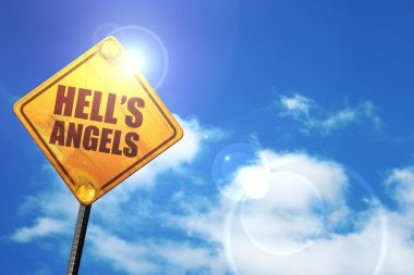 hells angels, 3D rendering, glowing yellow traffic sign