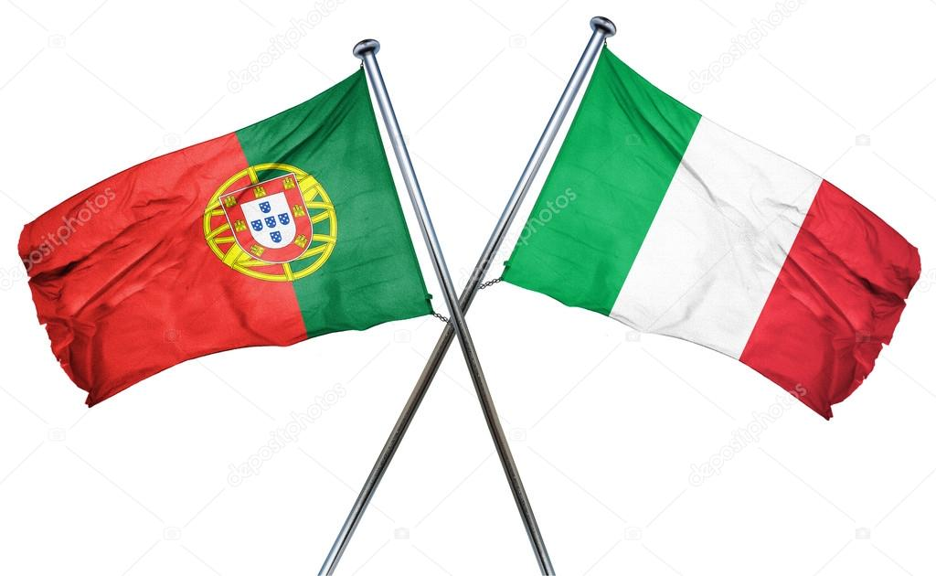 Portugal Flag With Italy Flag D Rendering Stock Photo