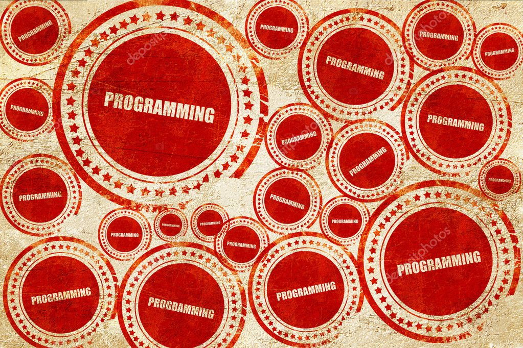Programming Red Stamp On A Grunge Paper Texture Stock Photo