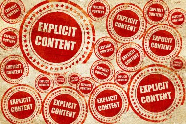 Explicit content sign, red stamp on a grunge paper texture