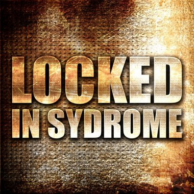 locked in syndrome, 3D rendering, metal text on rust background