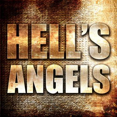 hells angels, 3D rendering, metal text on rust background