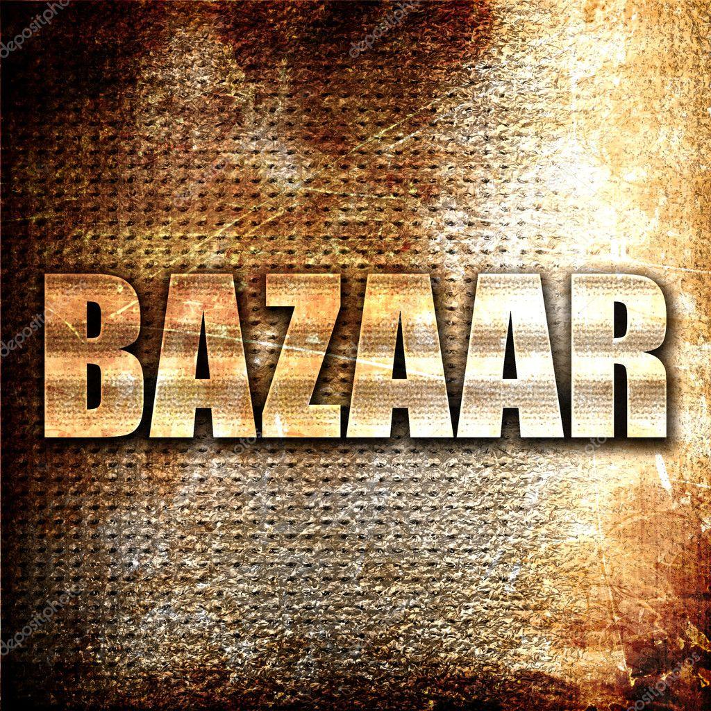 Bazaar, 3D rendering, metal text on rust background — Stock Photo