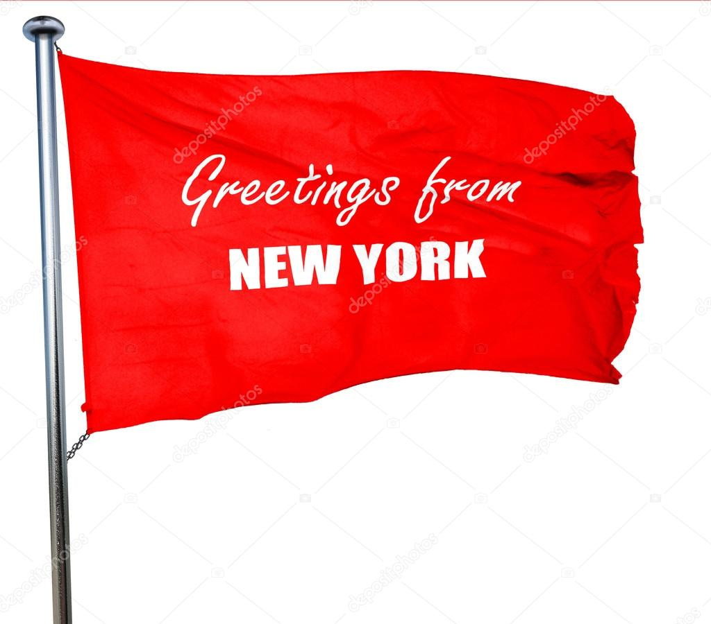 Greetings from new york 3d rendering a red waving flag stock greetings from new york 3d rendering a red waving flag stock photo kristyandbryce Images