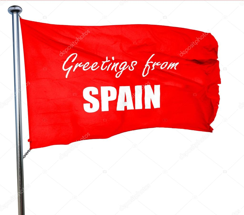 Greetings from spain 3d rendering a red waving flag stock photo greetings from spain 3d rendering a red waving flag stock photo m4hsunfo