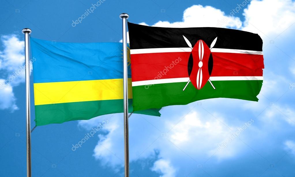 Rwanda Flag With Kenya Flag D Rendering Stock Photo Ellandar - Rwanda flag