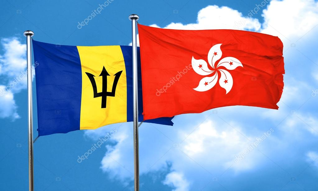 Фотообои Флаг барбадоса, флаг Гонконг, 3D визуализация