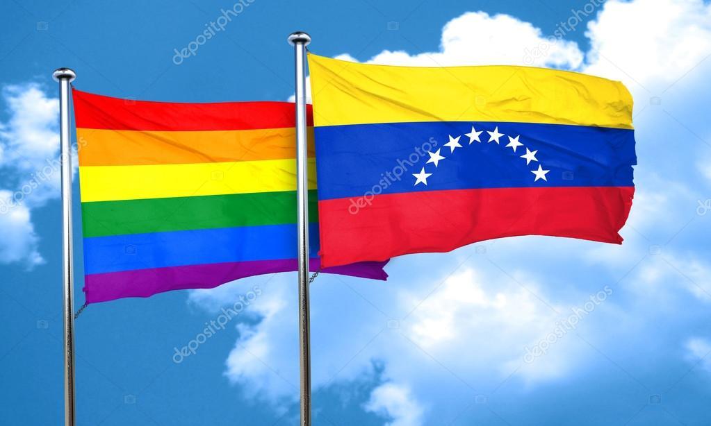 Agitando banderas venezolanas y gays del mapa político del mundo