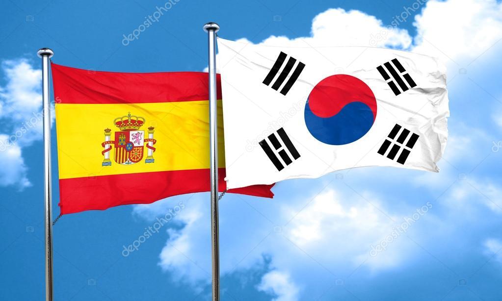 Bandera Española Con La Bandera De Corea Del Sur, Render