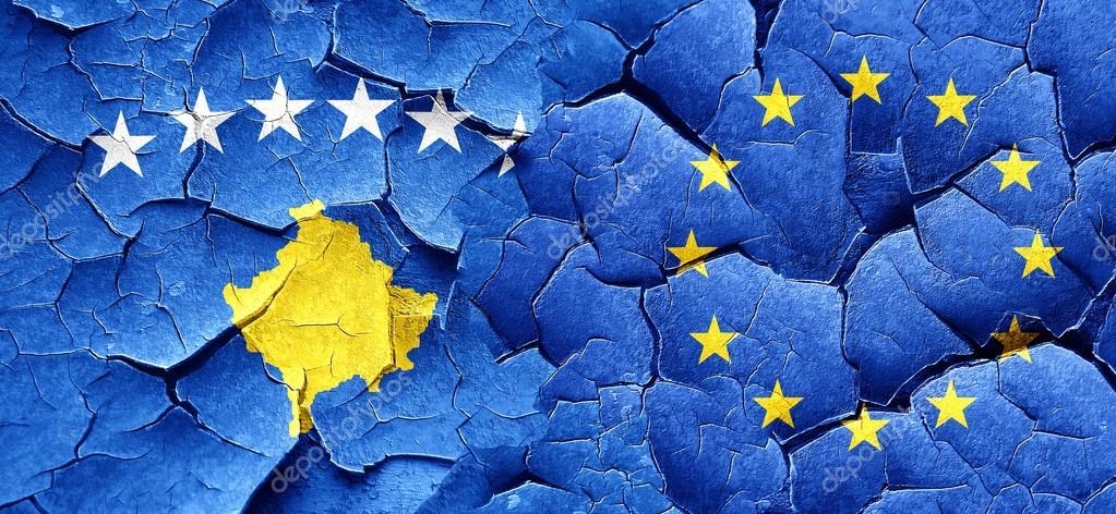 Kosovo Flag With European Union Flag On A Grunge Cracked Wall