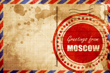 Greetings from moscow, red grunge stamp on an airmail background