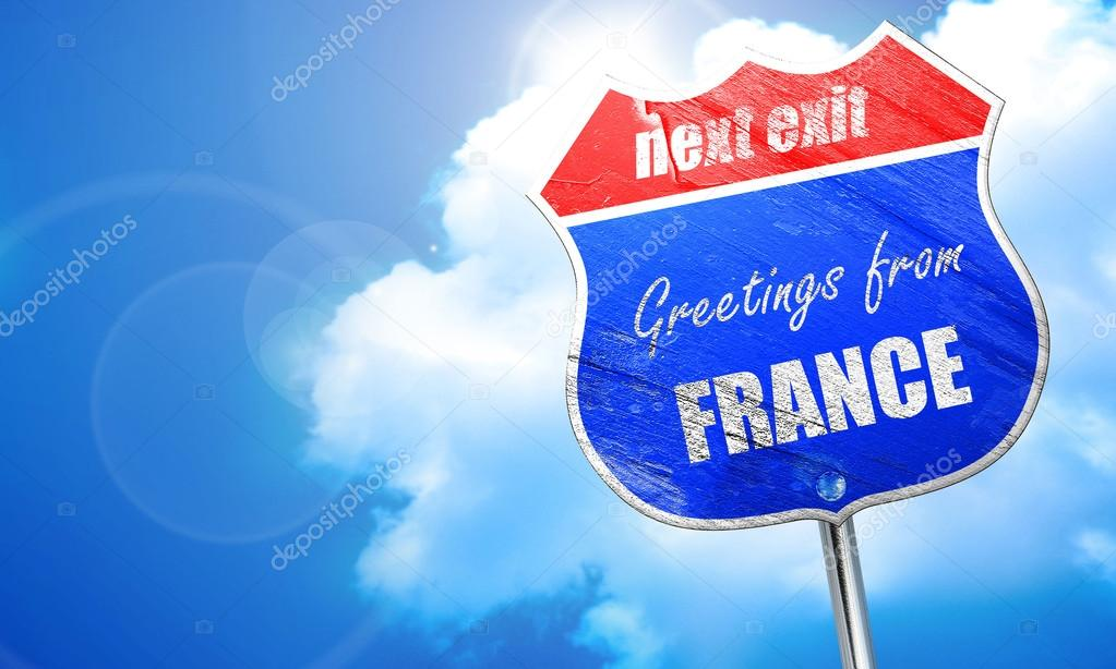 Greetings from france 3d rendering blue street sign stock photo greetings from france 3d rendering blue street sign stock photo m4hsunfo
