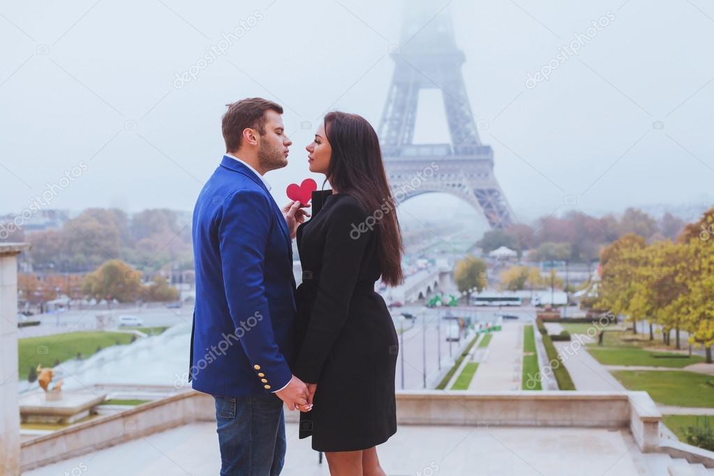 Couple in love near Eiffel Tower, Paris, France stock vector