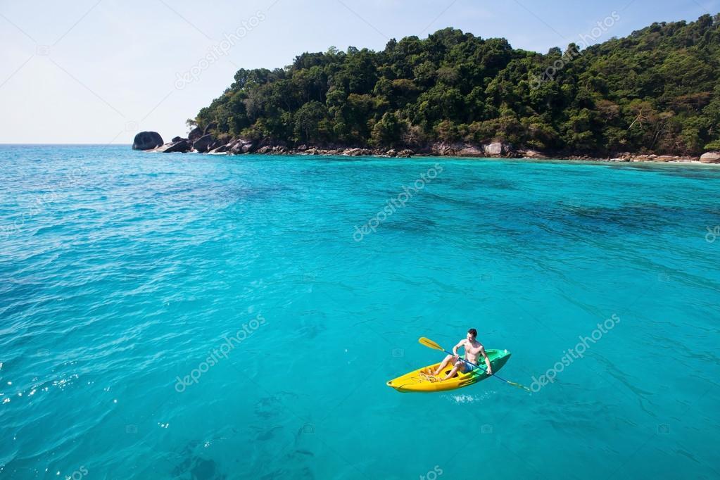 Kayaking on paradise beach