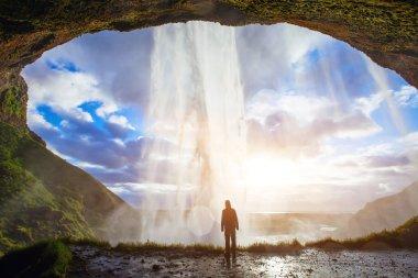 man enjoying amazing nature