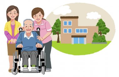 Happy elderly man in wheelchair with his family and nurse