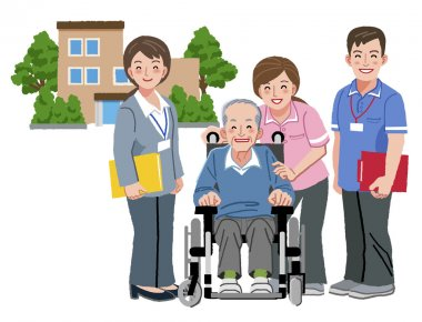 Cheerful elderly person in wheelchair with his nursing caregiver
