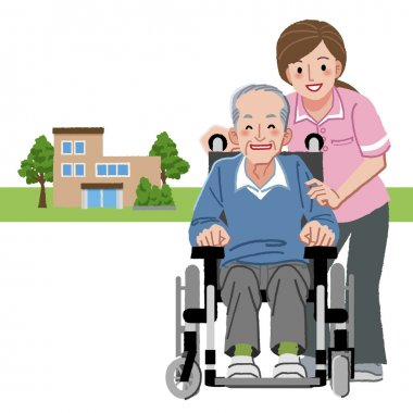 Portraits of smiling senior man in wheelchair and caregiver
