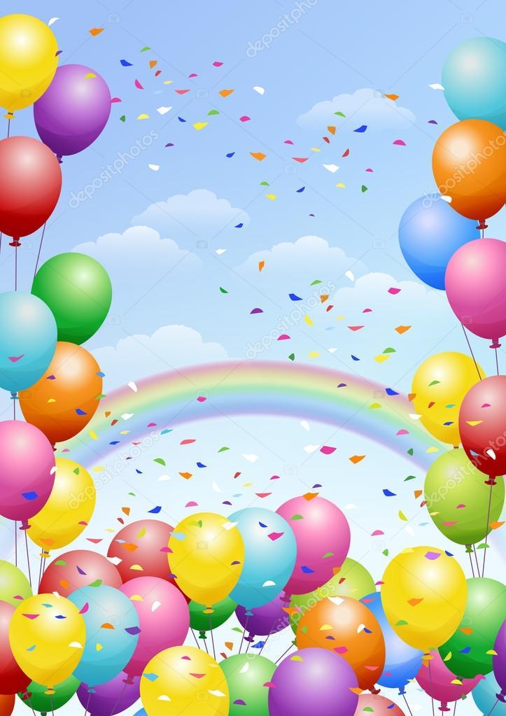 Sfondo festa con palloncini e arcobaleno vettoriali - Immagine con palloncini ...