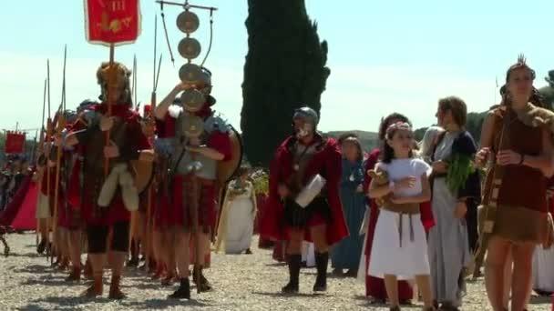 Róma születés ünnep alatt a római legionáriusok