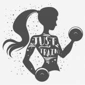 Fotografia Fitness typographic poster. Just train.
