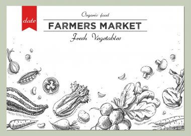 Templates for label design with hand drawn linear vegetables.