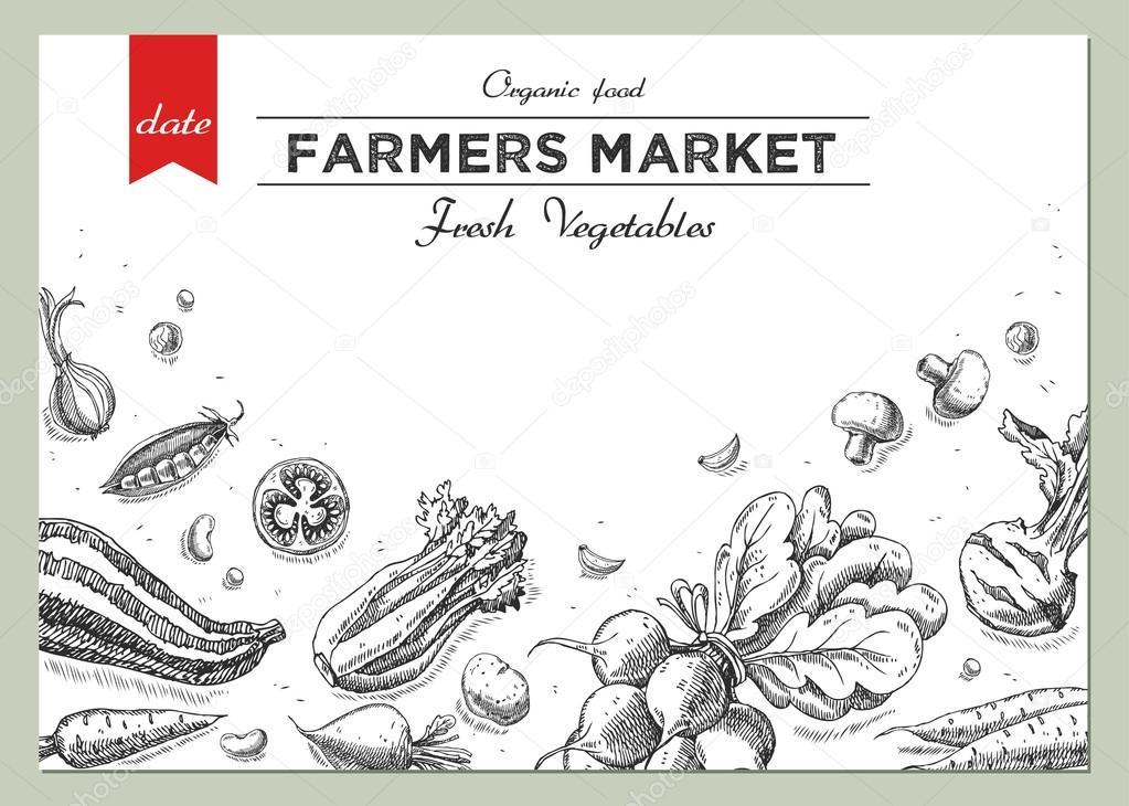 Vorlagen für Label-Design mit Hand gezeichneten linearen Gemüse ...