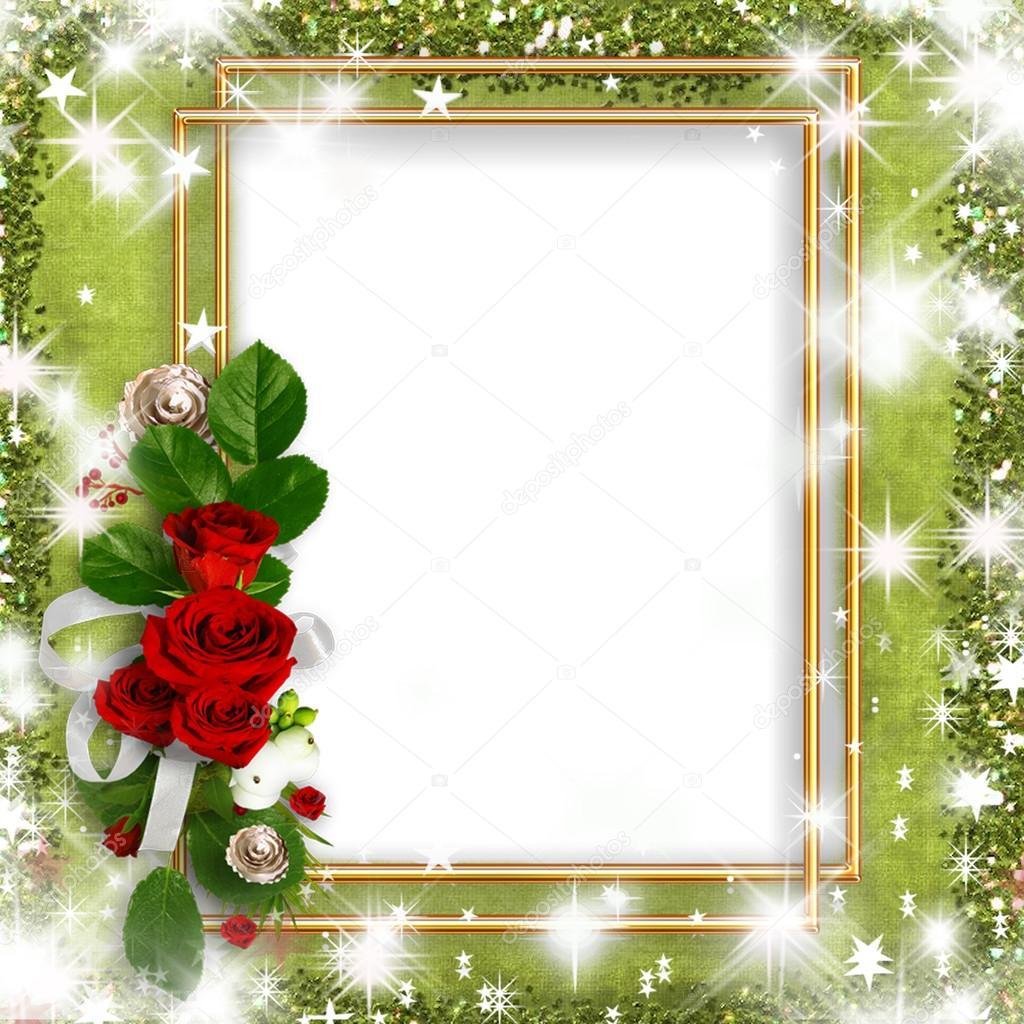 Lindo Cartão Com Rosas, Um Quadro De Ouro Pelo Seu