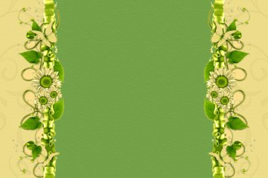 Abstract background with vertical floral vignette.