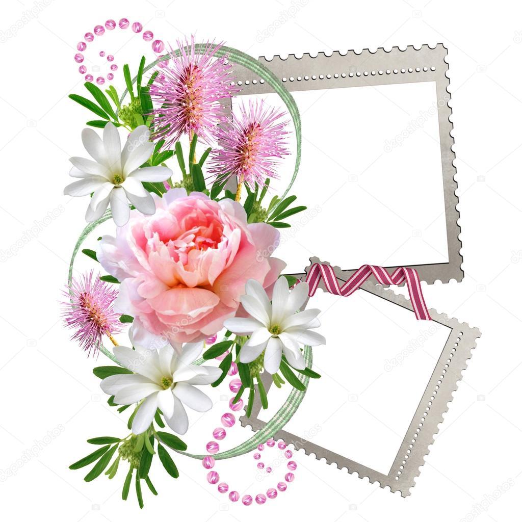 un beau bouquet de fleurs avec un cadre sur fond blanc. Black Bedroom Furniture Sets. Home Design Ideas
