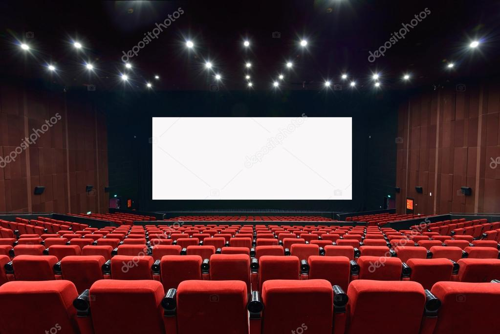 Empty movie theater with red seats stock vector