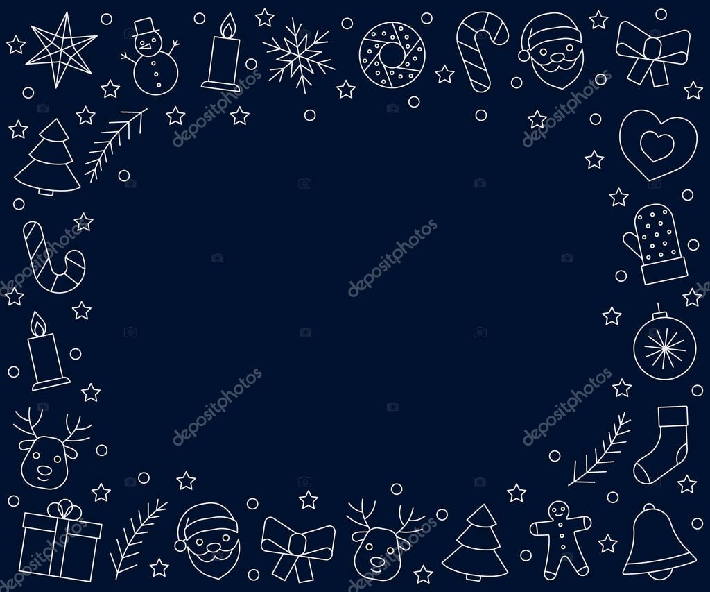Christmas and New Year frame white line icons on dark blue background. Greeting happy chrismas. Vector illustration icon