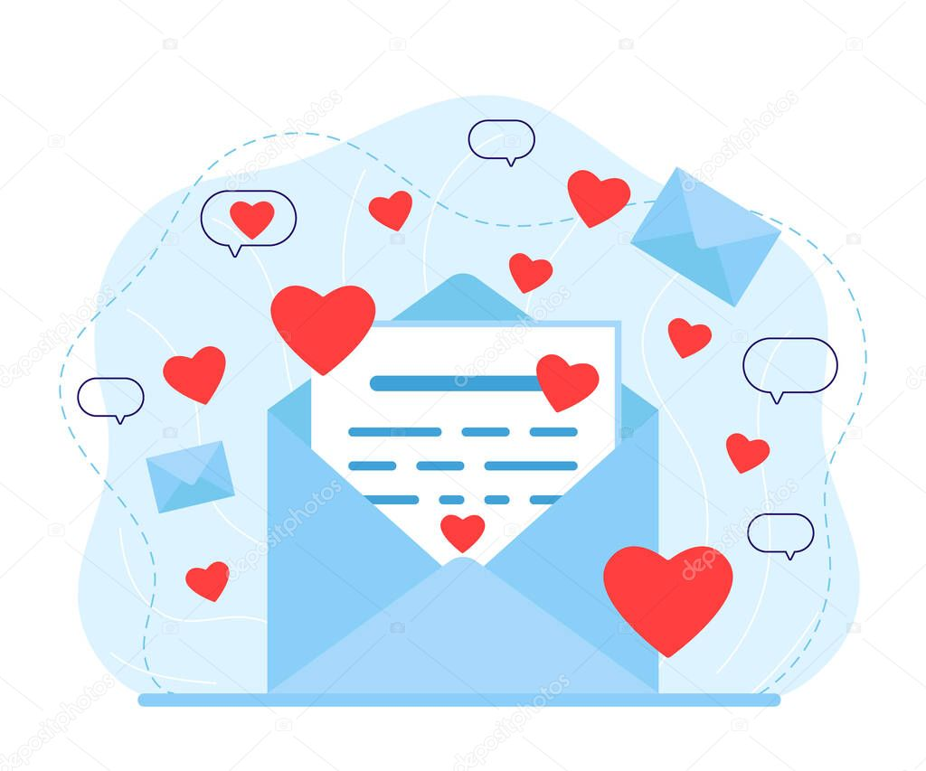 Letter in an envelope with love message icon