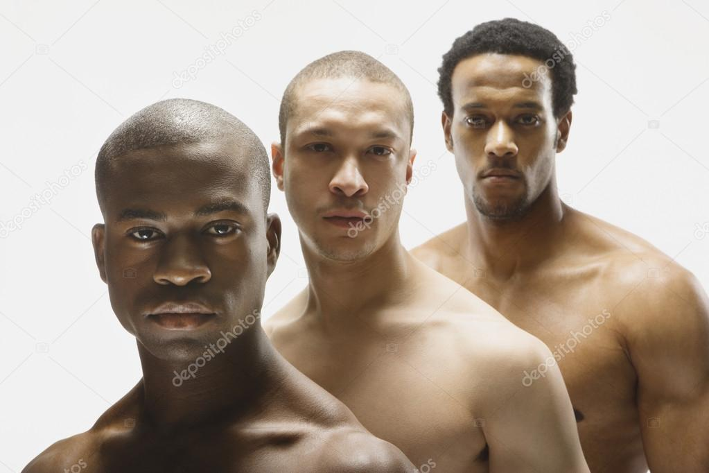 Multi-ethnic bare cheated men in row