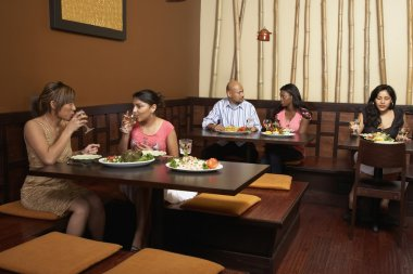 Multi-ethnic diners in restaurant