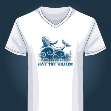 V neck shirt template with jumping whale