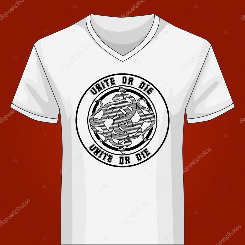 V-Ausschnitt Shirt Vorlage mit Snake Knot — Stockvektor © gertot1967 ...