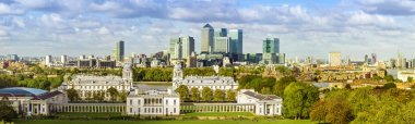 London, Greenwich Park and Canary Wharf