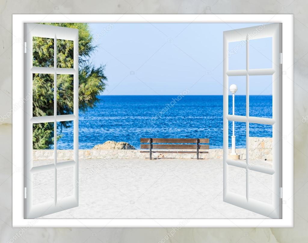 Open window beach - Window Open Sea Beach Grass Green Stock Photo 109066878