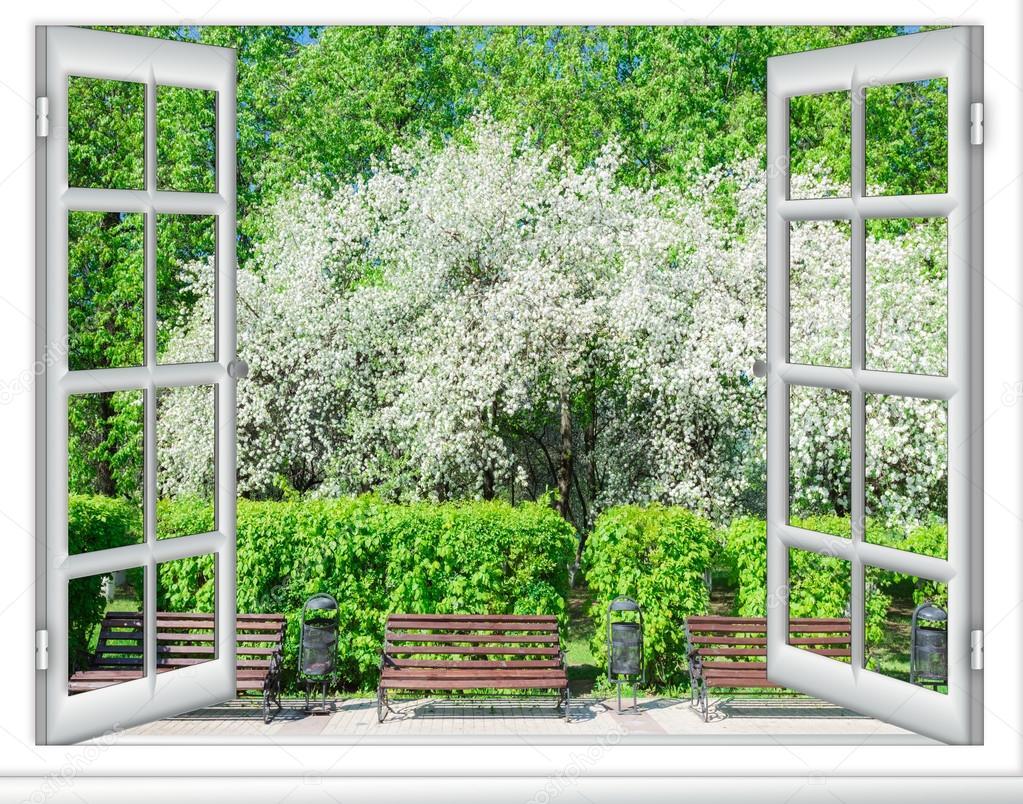 часто называют фотообои вид из окна на цветущую вишню некоторых штативах