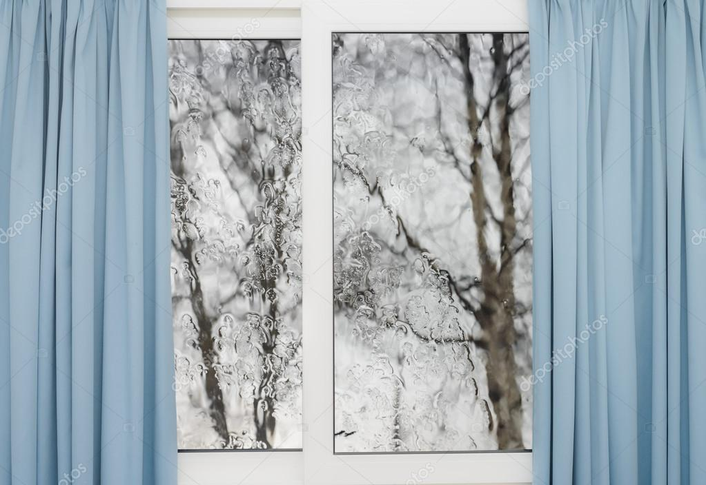 Closed Window With Curtains In Rainy Autumn Weather Photo By Db Rus