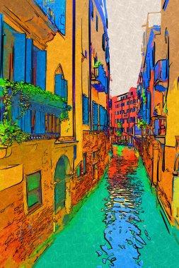 "Картина, постер, плакат, фотообои ""Иллюстрация искусства Венеции"", артикул 115180278"